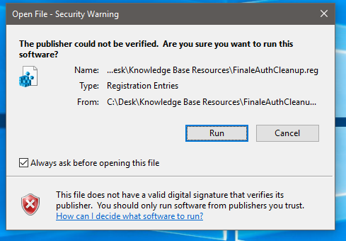 Cannot run Finale as administrator when attempting to
